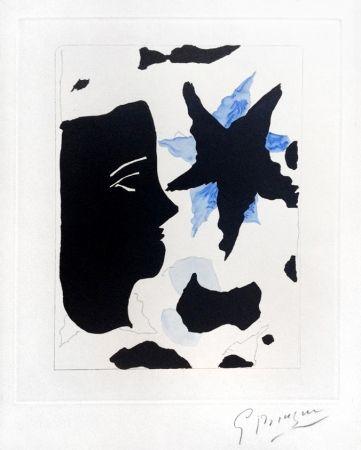 Eau-Forte Et Aquatinte Braque - Téte En Profil E L'Étoile (Head In Profile And Star) From Georges Braque – Nouvelles Sculptures Et Plaque Graveés, 1960