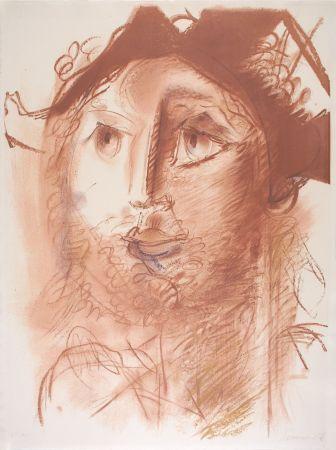 Lithographie Somville - Tête d'Arlequin - SEPIA