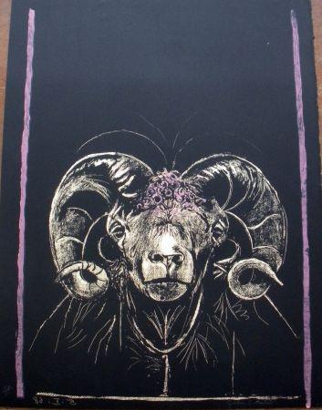 Lithographie Sutherland - Tête de bèllier (de face)