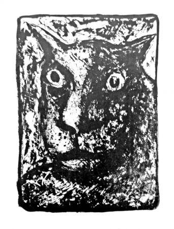 Lithographie Cognée  - Tête de chat