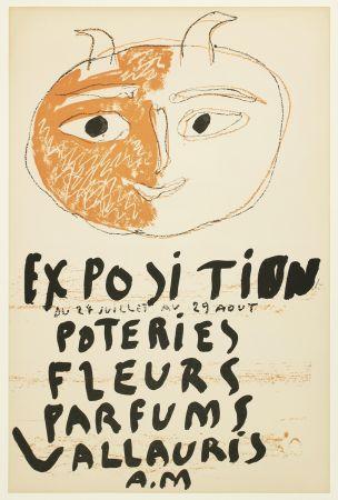 Lithographie Picasso - Tête de Faune (Exposition Poteries Fleurs Parfums Vallauris A.M)