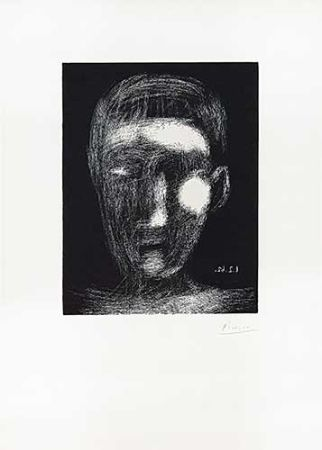Linogravure Picasso - Tête De Garçon