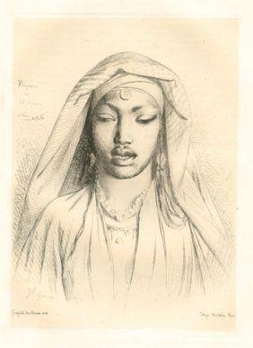 Gravure Gérôme - Tête de negresse du Hedjaz
