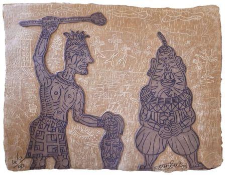 Gravure Combas - Tête de poire et artiste givré