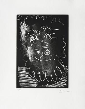 Gravure Picasso - Tête d'homme barbu