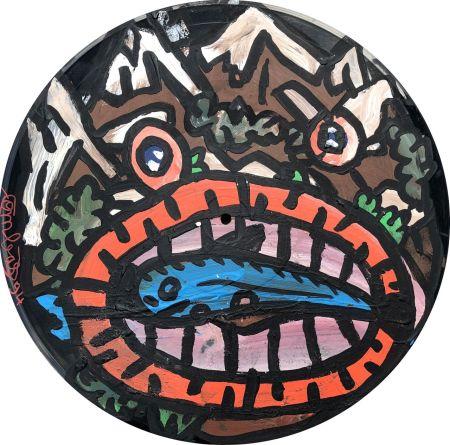 Aucune Technique Combas - Tête en forme de montagne qui mange un poisson