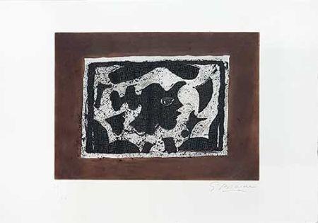 Gravure Braque - Tête Grecque Sur Fond Brun