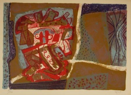Lithographie Nieto - Tête rouge