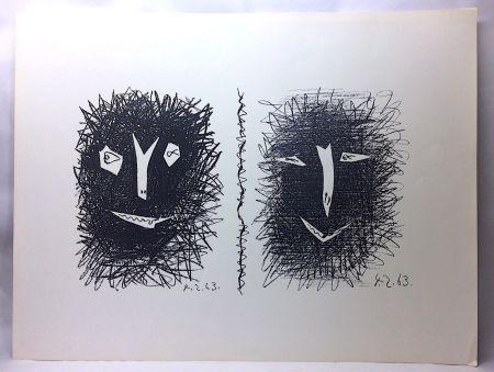 Lithographie Picasso - Têtes de Faunes