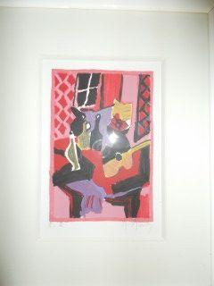 Lithographie Mouly - Table a la guitare