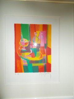 Lithographie Mouly - Table et le pichet