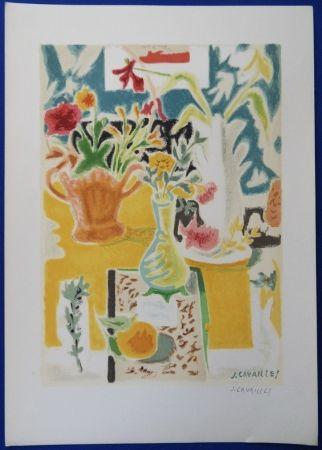 Lithographie Cavailles - Table fleurie