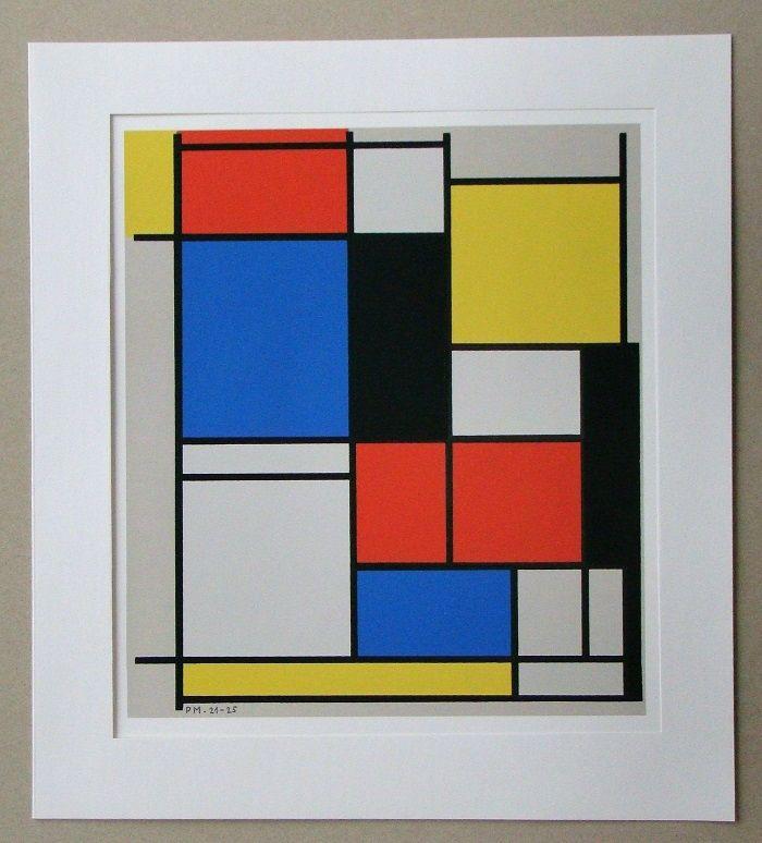 Sérigraphie Mondrian - Tableau II. - 1921/25