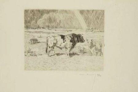 Gravure Lunois - Taureau dans un pré / Bull in a Meadow