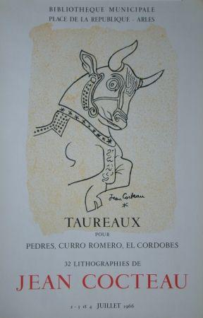 Lithographie Cocteau - Taureaux