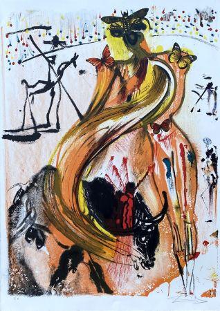 Lithographie Dali - Tauromachie aux papillons