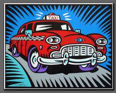 Sérigraphie Morris - Taxi blue