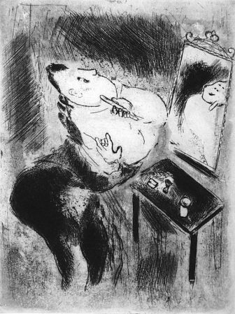 Eau-Forte Chagall - Tchitchikov se rase