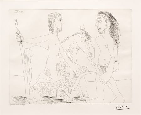 Gravure Picasso - Television: Combat de Chars a l'Antique