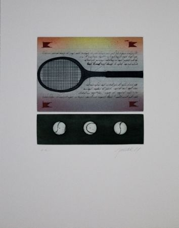 Eau-Forte Et Aquatinte Janak - Tennisschläger / Tennis Racquet