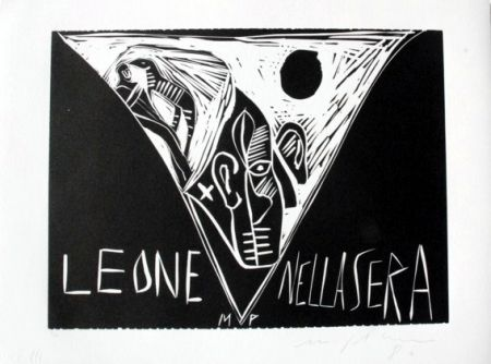 Linogravure Paladino - Terra tonda africana 1 - Leone nella sera