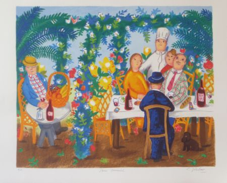 Lithographie Jirlow - Terrasse