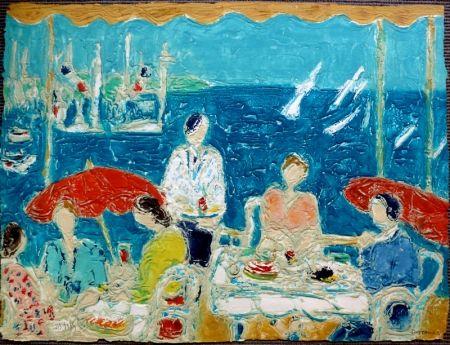 Lithographie Cottavoz - Terrasse au Bord de la Mer