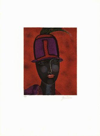 Lithographie Gentilini - Testo con capello rosso