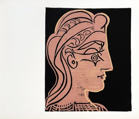Linogravure Picasso (After) - Tete de Feamme