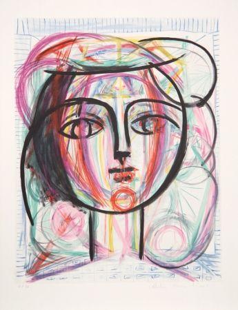 Lithographie Picasso - Tete de Femme