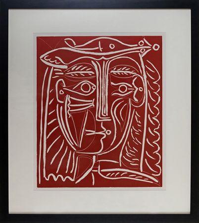 Linogravure Picasso - Tete De Femme Au Chapeau, Paysage Avec Baigneurs