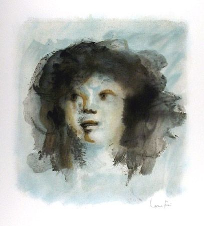 Lithographie Fini - Tete de Jeune Fille
