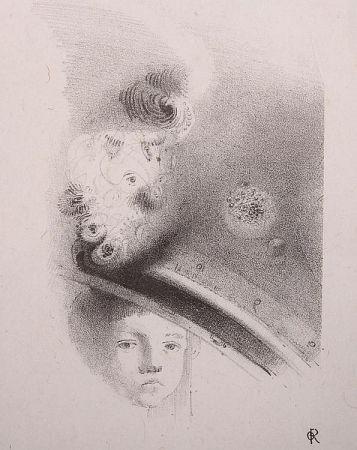 Lithographie Redon - Tete d'enfant, de face....