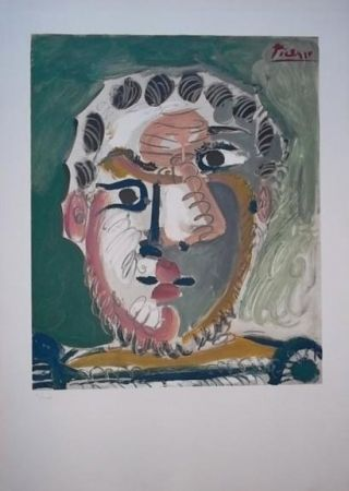 Lithographie Picasso - Tete d'homme barbu