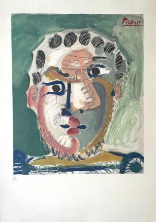 Lithographie Picasso - Tete D'homme Bardu