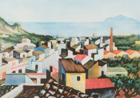 Gravure Guttuso - Tetti con monte Pellegrino sullo sfondo