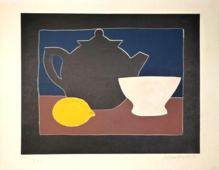 Aquatinte Mumprecht - Théière, bol et citron