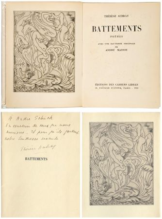 Livre Illustré Masson - Thérèse Aubray : BATTEMENTS. 1/35 avec la gravure d'André Masson (Paris, 1933).
