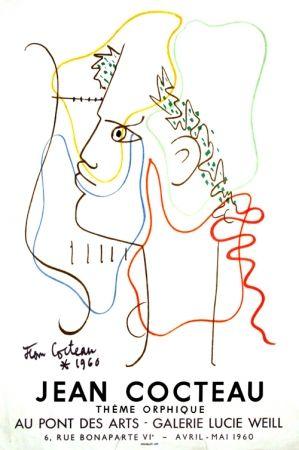 Lithographie Cocteau - Thême Orphique Galerie Lucie Weill