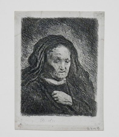 Gravure Rembrandt - The artist's mother with her hand on her chest