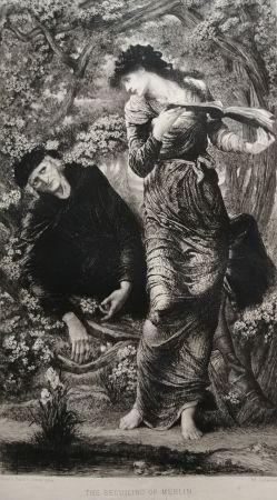 Eau-Forte Burne-Jones - The Beguiling of Merlin