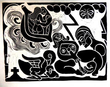 Linogravure Heerup - The Boat of Love