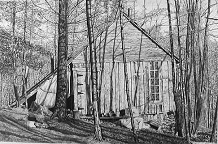 Lithographie Levine - The Brookwood Cabin