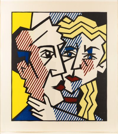 Gravure Sur Bois Lichtenstein - The Couple, From The Expressionist Woodcut Series