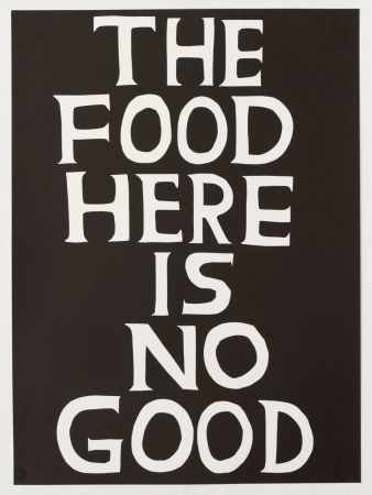 Linogravure Shrigley - The food here is no good
