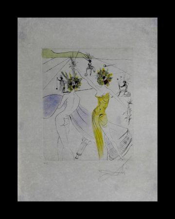 Gravure Dali - The Hippies Flower-Woman at The Piano