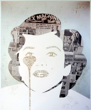 Sérigraphie Pure Evil - The last Marilyn (golden ink face)