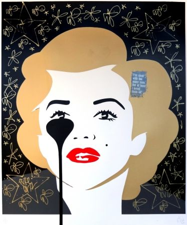 Sérigraphie Pure Evil - The last Marilyn (golden scratching)