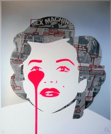 Sérigraphie Pure Evil - The last Marilyn (ransom note messages)