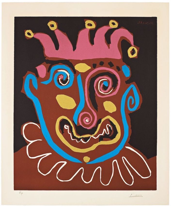 Linogravure Picasso - The old king